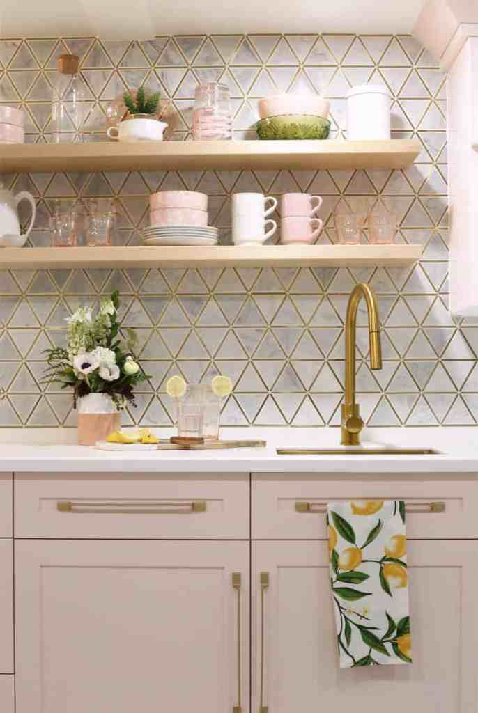 Pink kitchenette wet bar |Living Room Makeover by popular Canada life and style blog, Fynes Designs: image of a pink kitchenette wet bar.