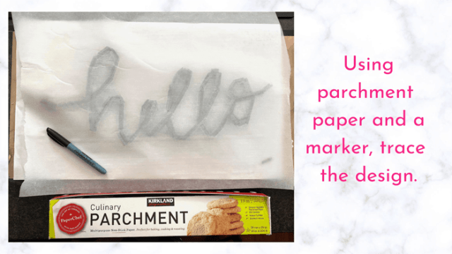 parchment paper as tracing paper | Tile Lettering by popular US interior design blog, Fynes Designs: image of parchment paper placed over the word 'hello'.
