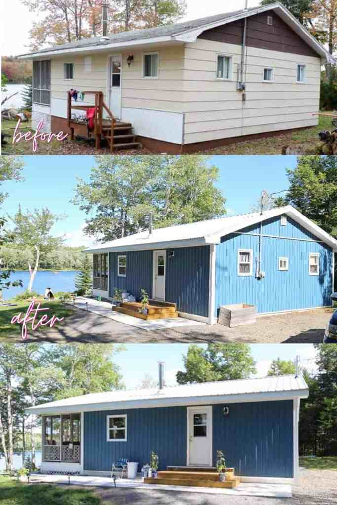 Farmhouse Cottage by popular Canada DIY blog, Fynes Designs: before and after image of a 1980's farmhouse cottage