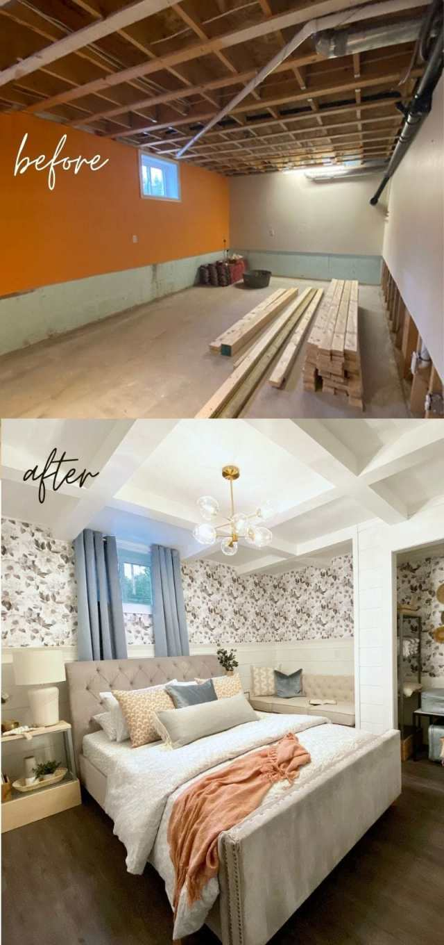 Before and After of a stunning basement bedroom renovation | Master Bedroom Design by popular Canada interior design blog, Fynes Designs: before and after image of a basement master bedroom.