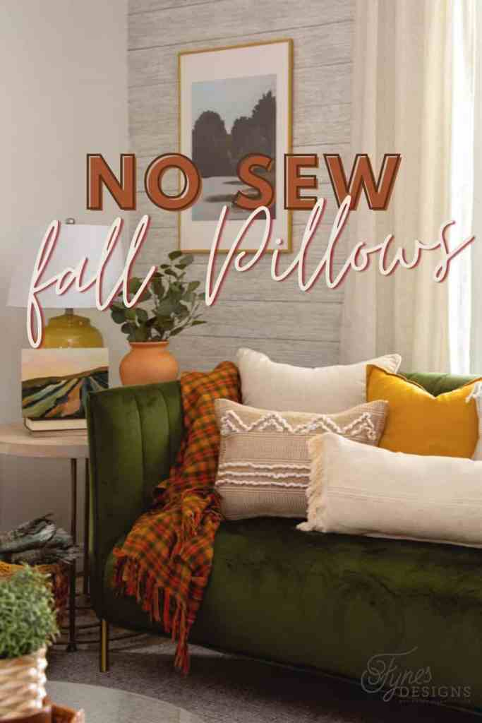 NO SEW Fall boho pillows from IKEA Rugs |  Boho Pillows by popular Canada DIY blog, Fynes Designs: Pinterest image of various boho pillows on a green velvet couch.