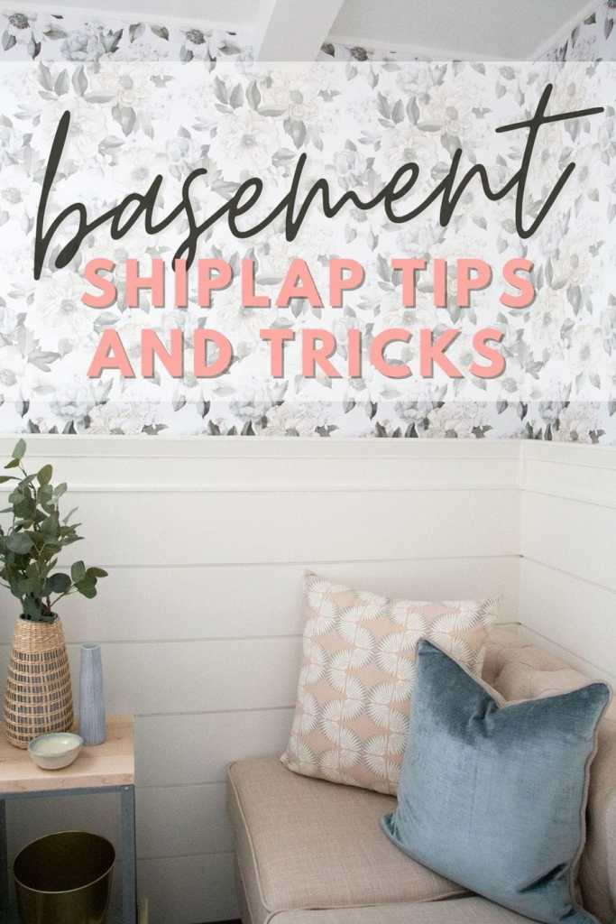 What you need to know before you put shiplap on your basement walls | Shiplap Wall by popular Canada interior design blog, Fynes Designs: Pinterest image of a basement shiplap wall.