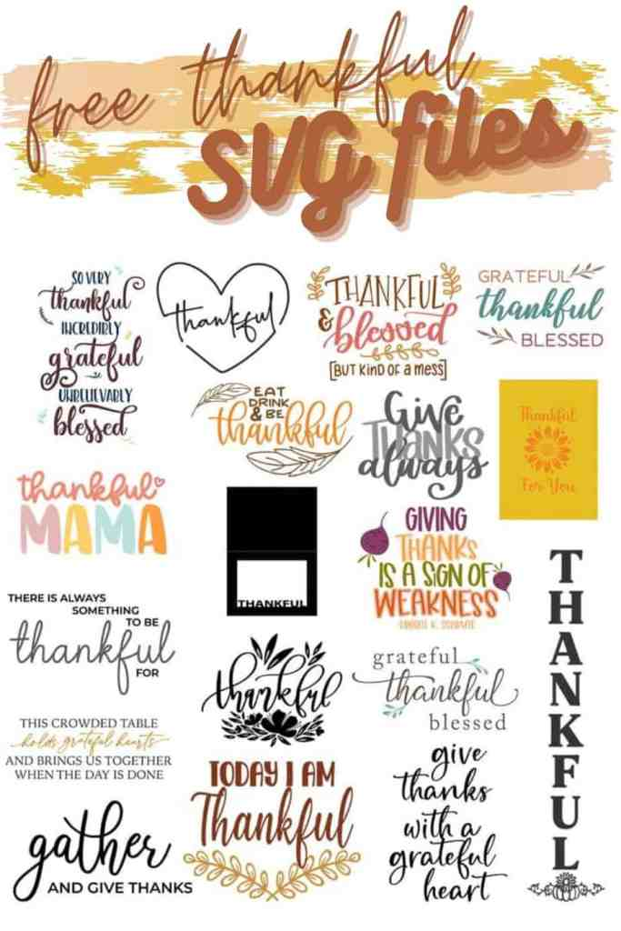 FREE thankful SVG cut files |Thanksgiving decor by popular Canada interior design blog: collage image of svg files.