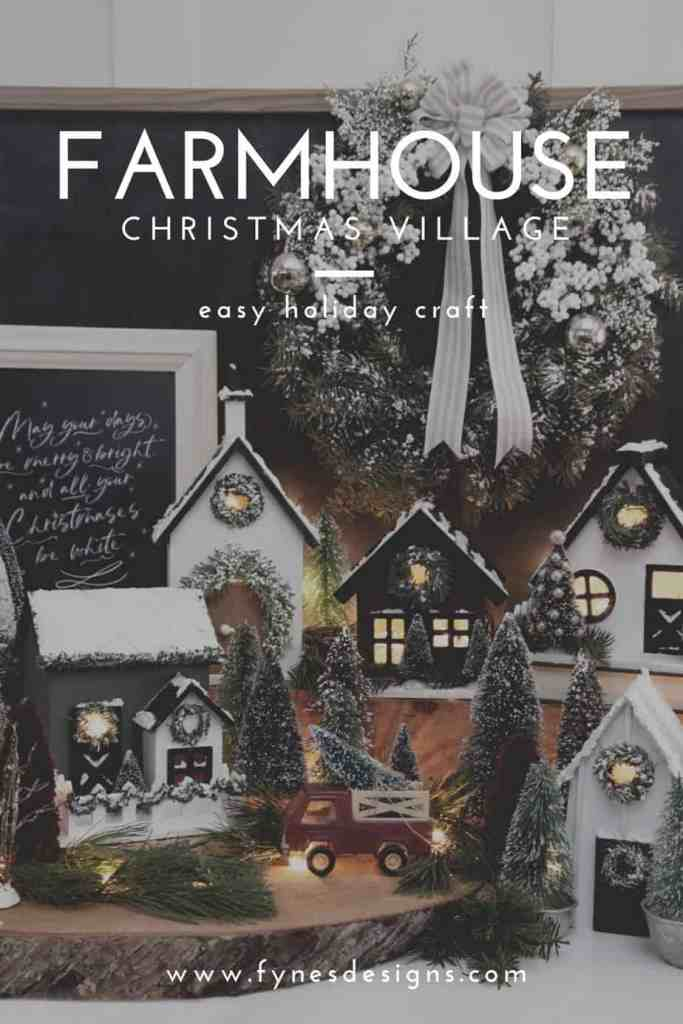 Farmhouse style birdhouse Christmas Village. | Christmas Village by popular Canada DIY blog, Fynes Designs: Pinterest image of a farmhouse Christmas village.