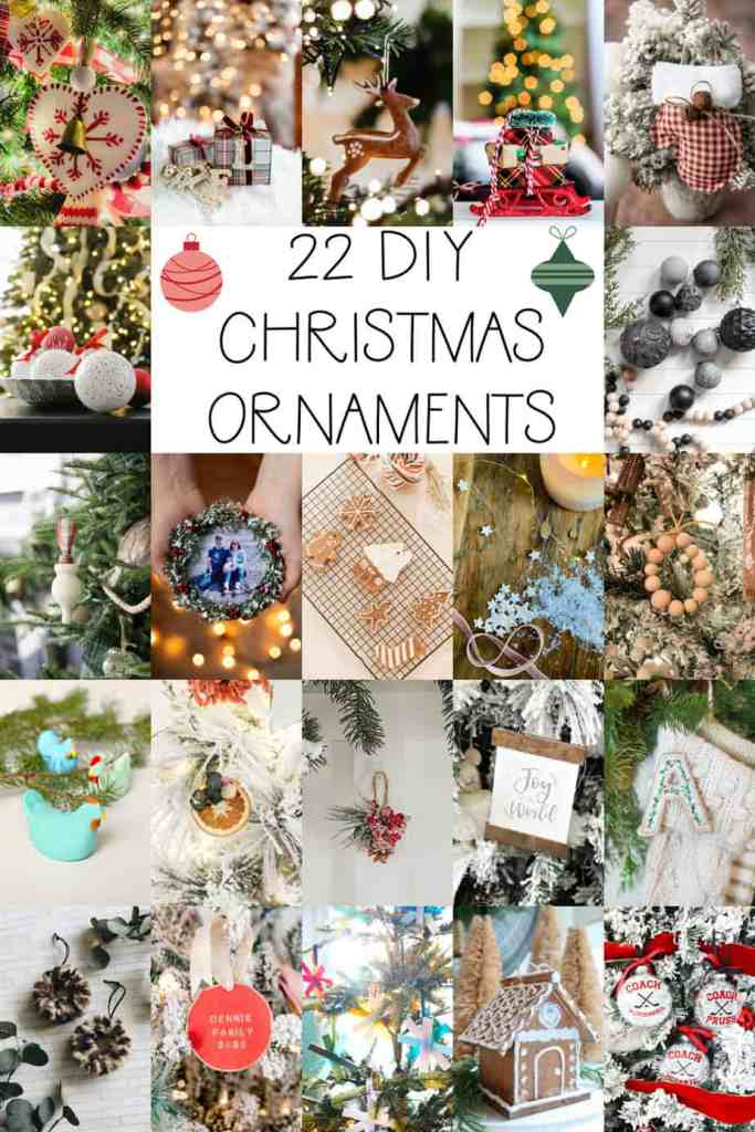 Over 20 easy handmade Christmas ornaments |Photo Ornament by popular Canada DIY blog, Fynes Designs: collage image of various DIY Christmas ornaments.