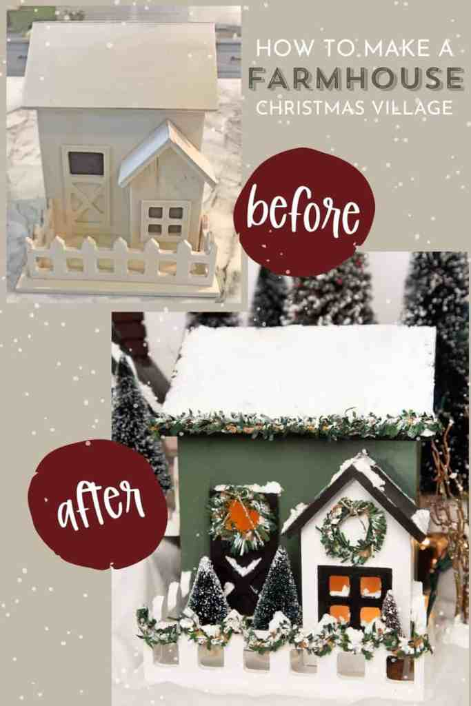 How to make a cute Christmas Village |Christmas Village by popular Canada DIY blog, Fynes Designs: image of a farmhouse Christmas village.