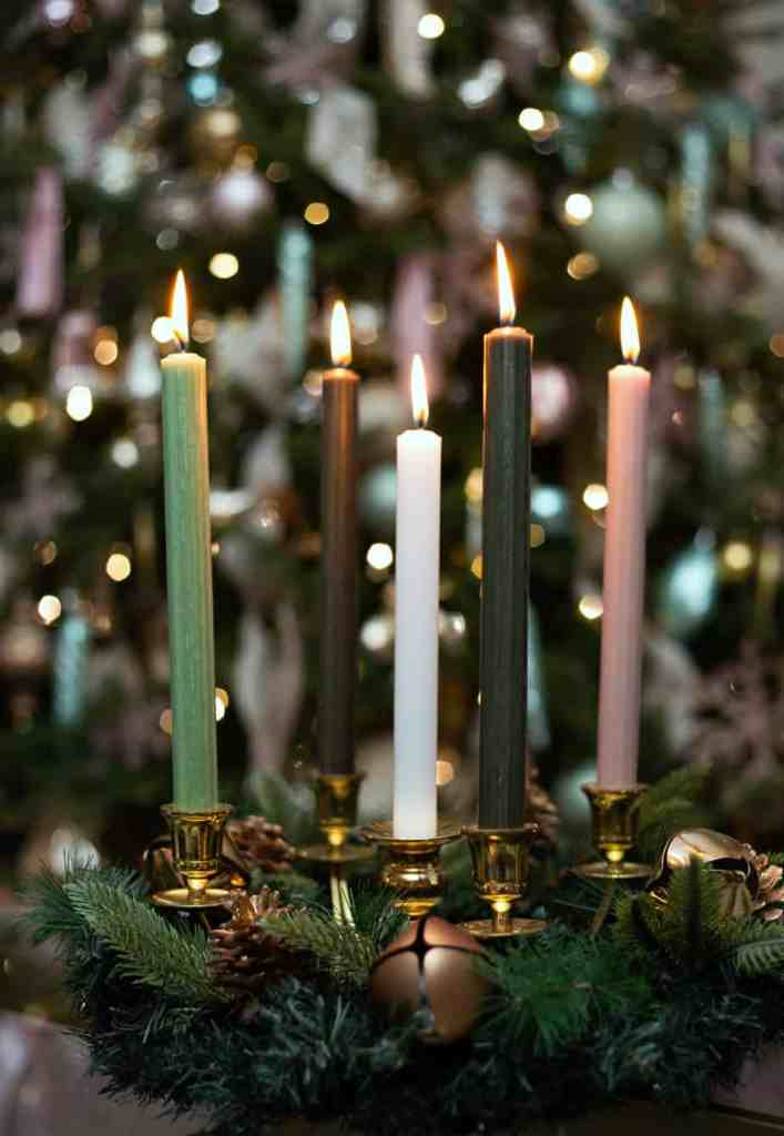 Christmas tapered candle centrepiece |Colorful Christmas Decorations by popular Canada Interior Design blog, Fynes Designs: image of a tapered candle centerpiece.