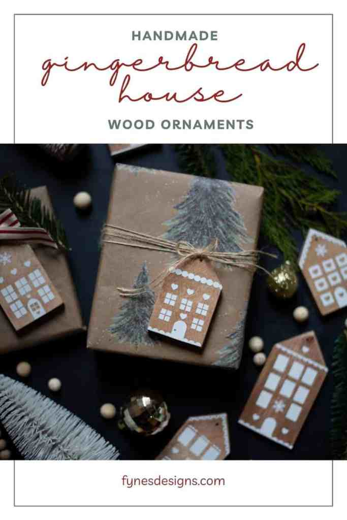 How to make your own cute Gingerbread house wood ornaments for Christmas decorations.