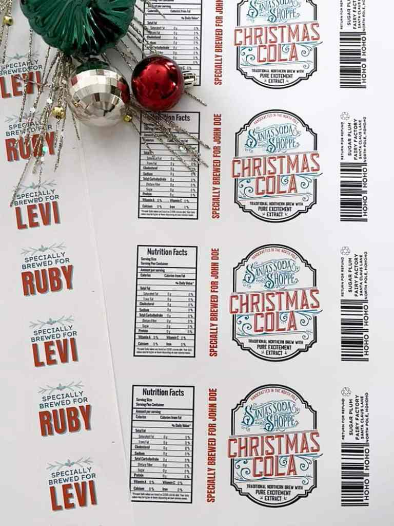 Free Printable Soda Bottle Labels for a Personalized Christmas |Bottle Labels by popular Canada DIY blog, Fynes Designs: image of personalized labels.