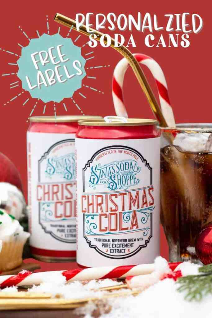 Personalized Santa gift- Customized Soda Labels. Free Download |Bottle Labels by popular Canada DIY blog, Fynes Designs: image of soda cans with personalized labels.