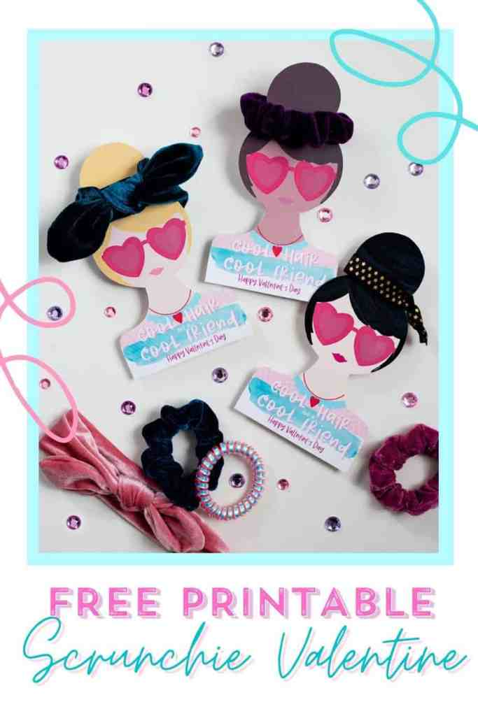 Easy Valentine Ideas- Hair accessory Valentine cards for girls |DIY Hair Tie Valentine by popular Canada DIY blog, Fynes Designs: Pinterest image of DIY Hair Tie Valentines.