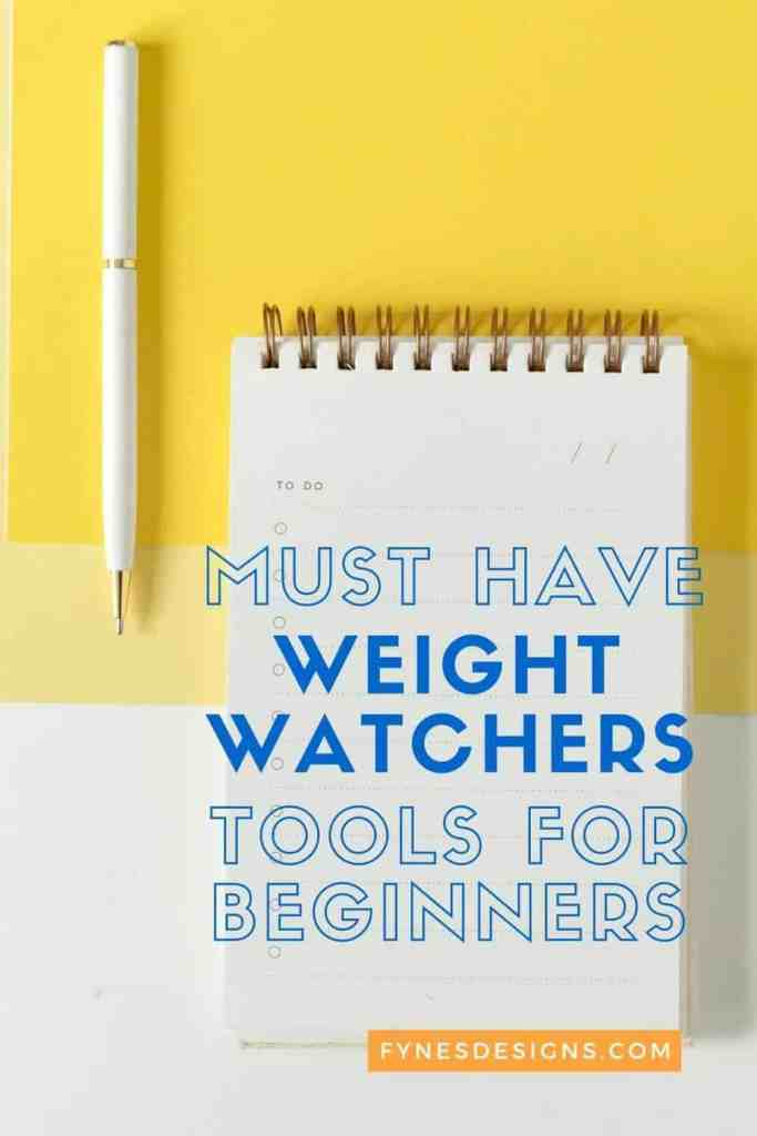 7 Must have Weight Watchers tools for Beginners | Weight Watchers Tools by popular Canada lifestyle blog, Fynes Designs: Pinterest image of a notepad and white pen.