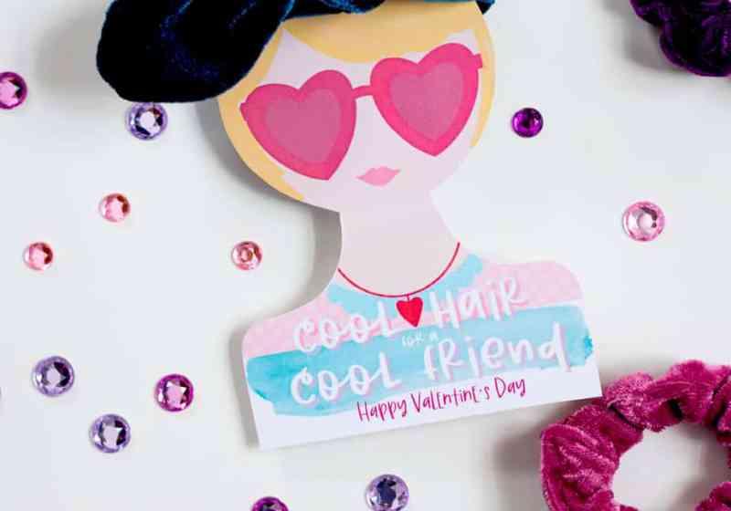 Free hair tie printable Valentine cards