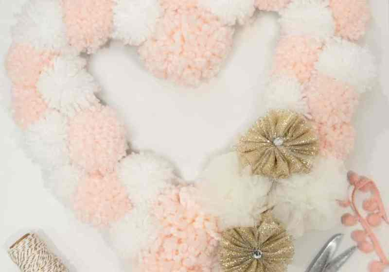 Pom Pom Heart shaped Valentine's wreath tutorial