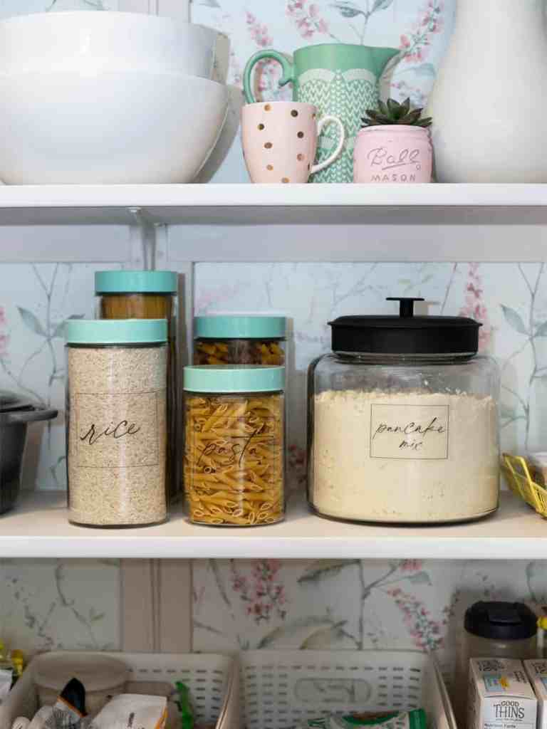 Free Modern Pantry Labels |Pantry Organization Tips by popular Canada interior design blog, Fynes Designs: image of jars with pantry labels.