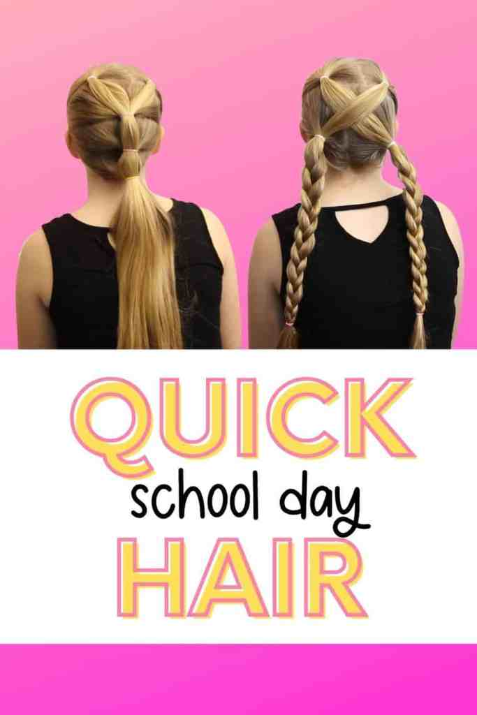 2 weeks of cute 5 Minute Hairstyles for School that anyone can do.Featured by blogger Fynes Designs. |5 Minute Hairstyles by popular Canada lifestyle blog, Fynes Designs: Pinterest image of girl hairlstyles.