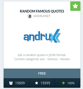 Random Famous Quotes API from andrux