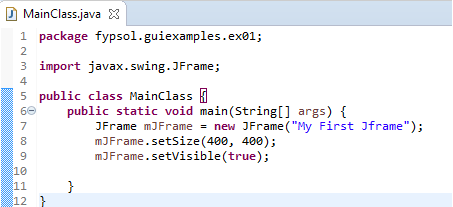 create empty jframe code