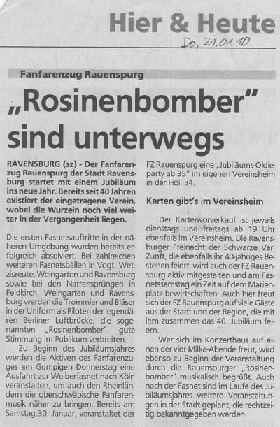 Schwäbische Zeitung, 21.01.2010 Vorbericht zur Fasnet 2010