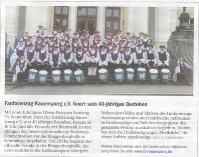 INFO, die regionale Wochenzeitung, Oberschwaben am 22.09.2010 und das Ravensburger Stadtmagazin am 23.09.2010 Vorberichte zur Jubiläums Wiesn-Party am 25.09.2010 in der Ringgenburghalle in Schmalegg!