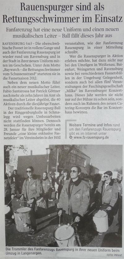 Schwäbische Zeitung am 18.01.2012