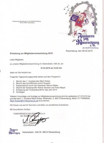 Einladung zur Mitgliederversammlung 2015