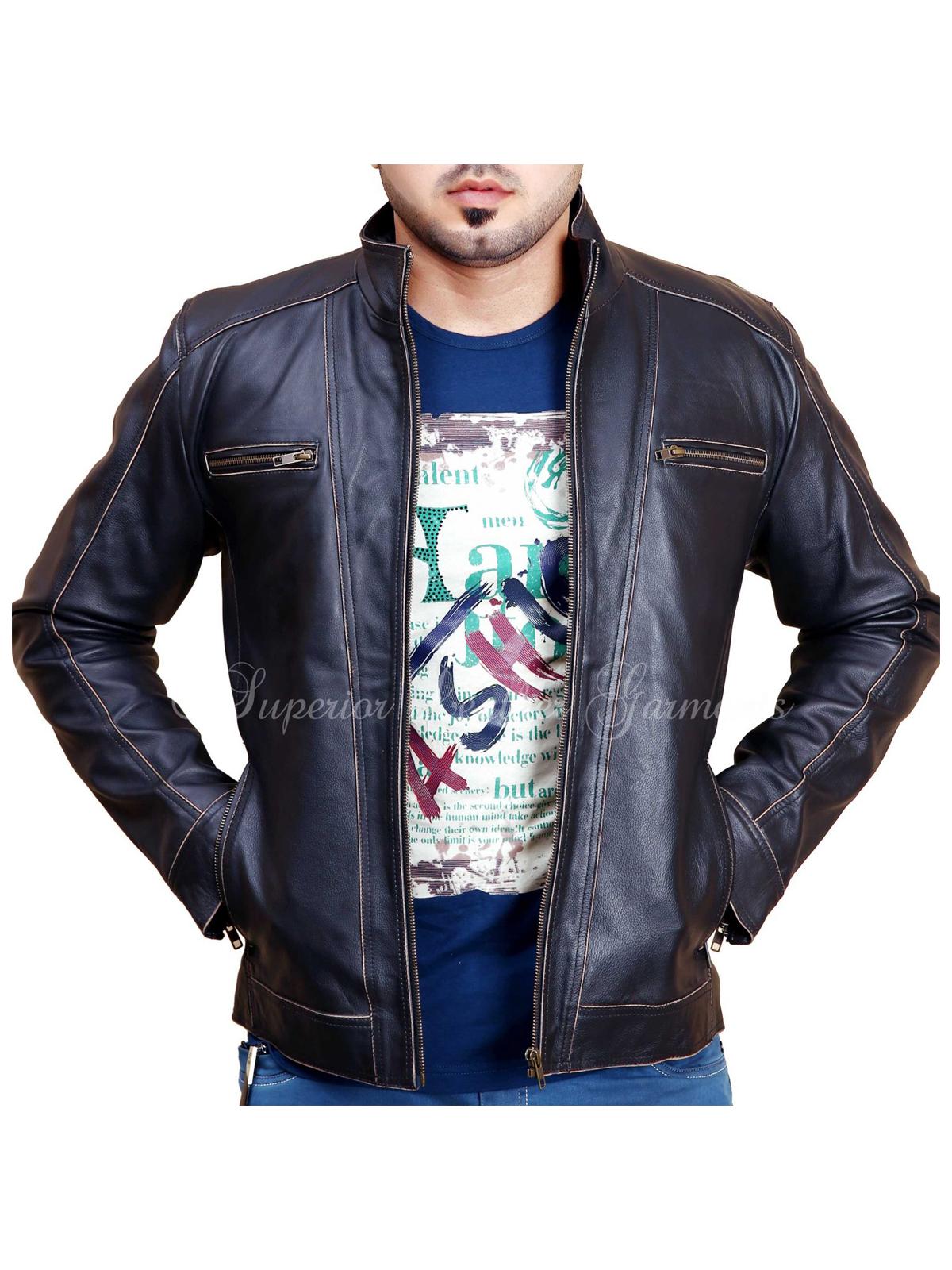 Mens BLACK Rivet Leather Faded-Seam Jacket