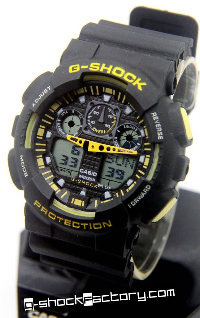 G-Shock GA-100 Black & Yellow Wrist Watch - by www.g-shockfactory.com