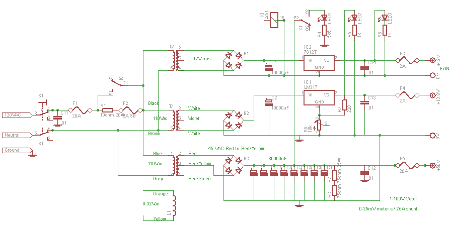 Amplifier Circuit Diagrams 1000w 600w Solid State Amplifier
