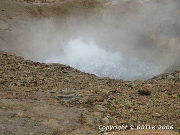 Boiling volcanic pool of water