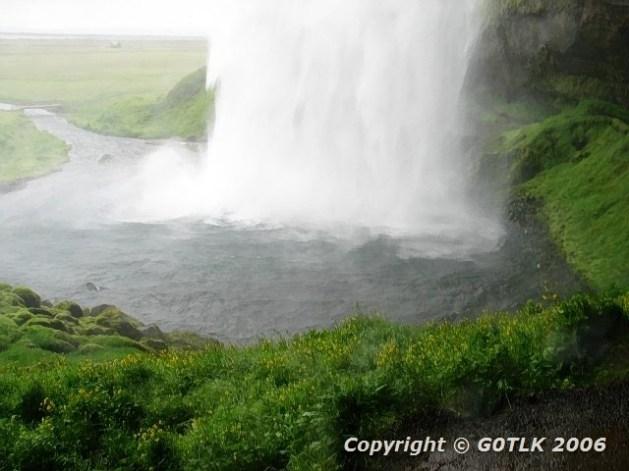 Iceland waterfall base