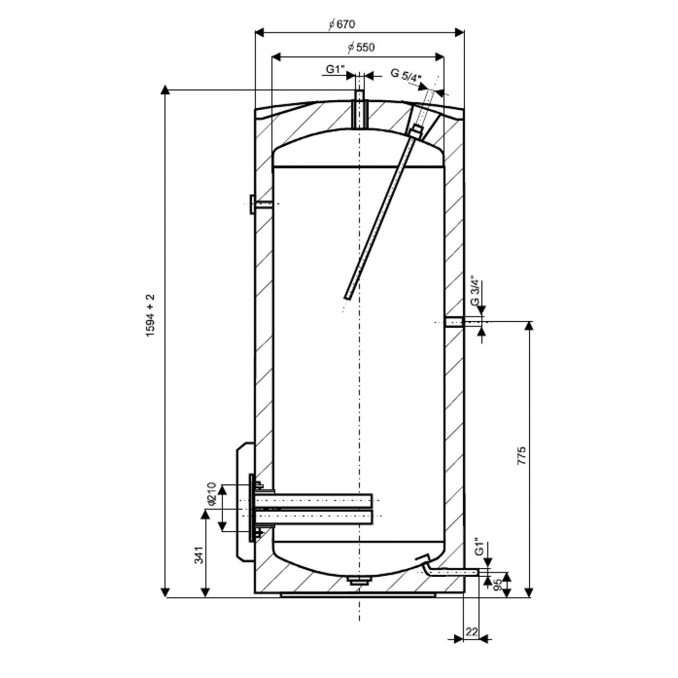 300 Liter L Elektrischer Warmwasserspeicher Boiler Elektrospeicher Speicher Kera