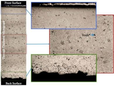 Through thickness micrograph of failure analysis on steel plates by G2MT Labs