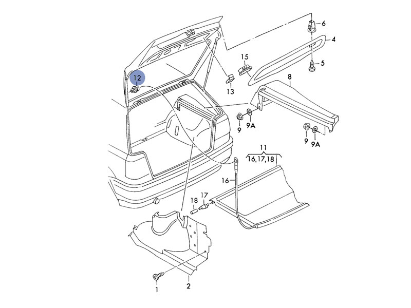 is a parts diagram listing of the parts for the jetta intake system