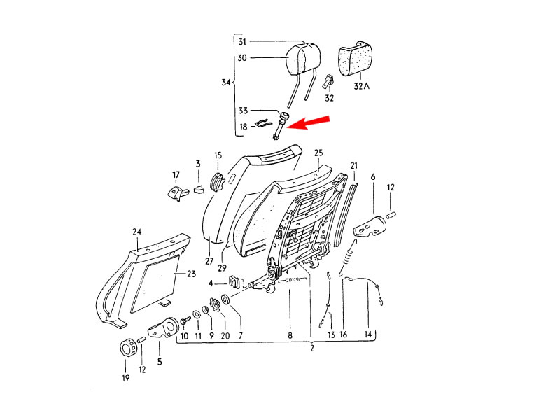 Original VW Front Seat Head Restraint Adjustment Guide