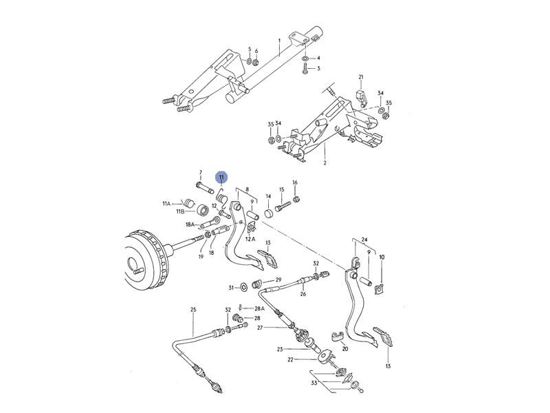 Scirocco MK2 Genuine VW Torsion Brake Pedal Spring LHD Nos