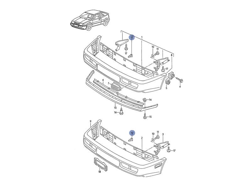 Corrado Genuine VW Front or Rear Bumper Retaining Clip NOS
