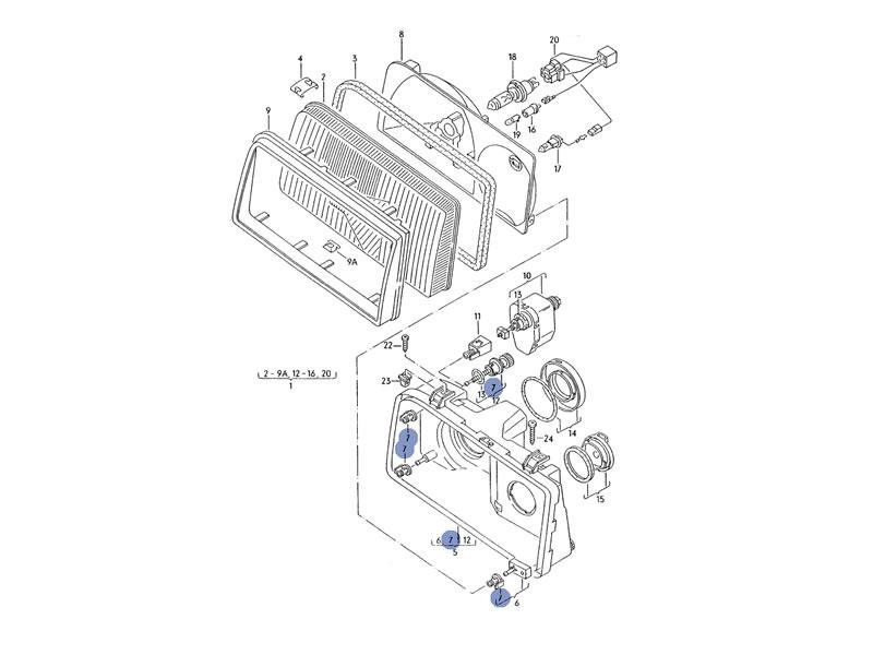 Corrado Genuine VW Headlight Top Adjuster, Adjusting Screw