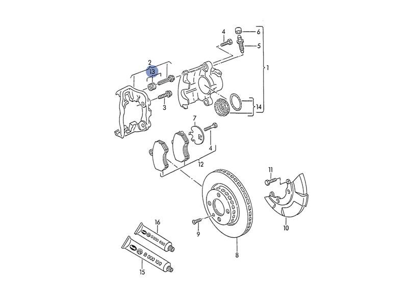 Jetta MK2 Genuine VW Front Brake Caliper Guide Pins