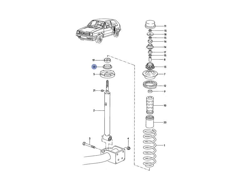 Original VW Rear Suspension Lower Spring Plate Underlay