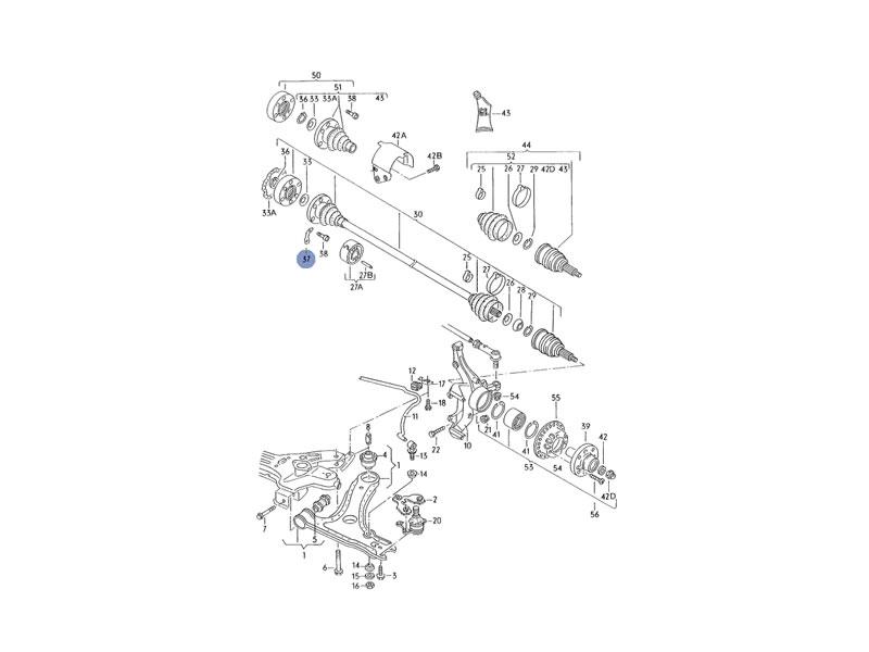 Original VW Driveshaft CV Joint Bolt Spacer Backing Plate