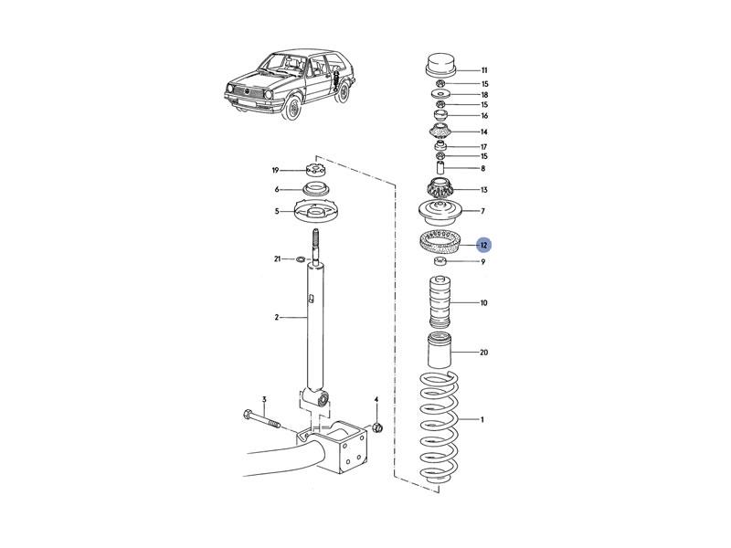 Corrado Genuine VW Rear Upper Suspension Spring Underlay