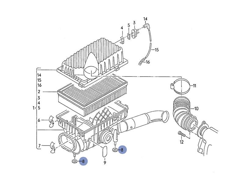 Corrado Genuine VW Air Filter Radiator Rubber Bushing