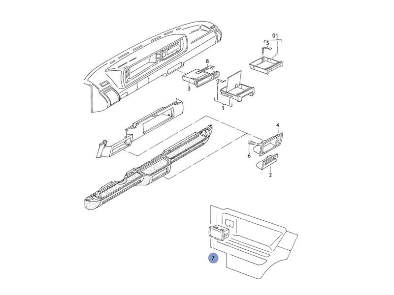 Karmann Ghia Genuine VW Rear Trim Panel Ashtray Black Nos
