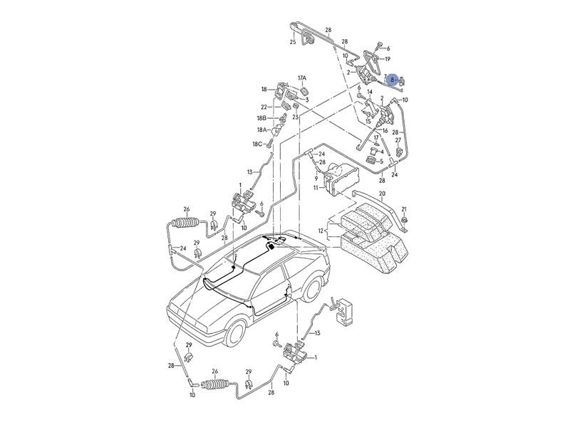 Golf MK2 Genuine VW Boot Locking Mechanism Lock Rod