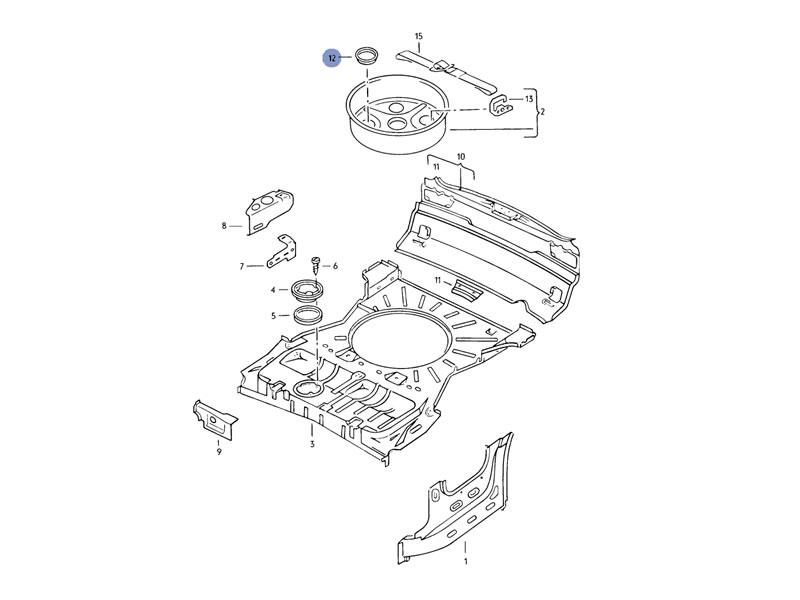 Golf Cabriolet MK1 Genuine VW Spare Wheel Boot Floor Plate