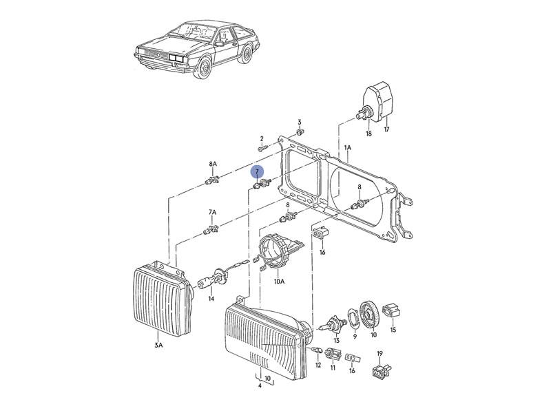 Scirocco MK2 Genuine VW Front Headlight Adjuster Electric