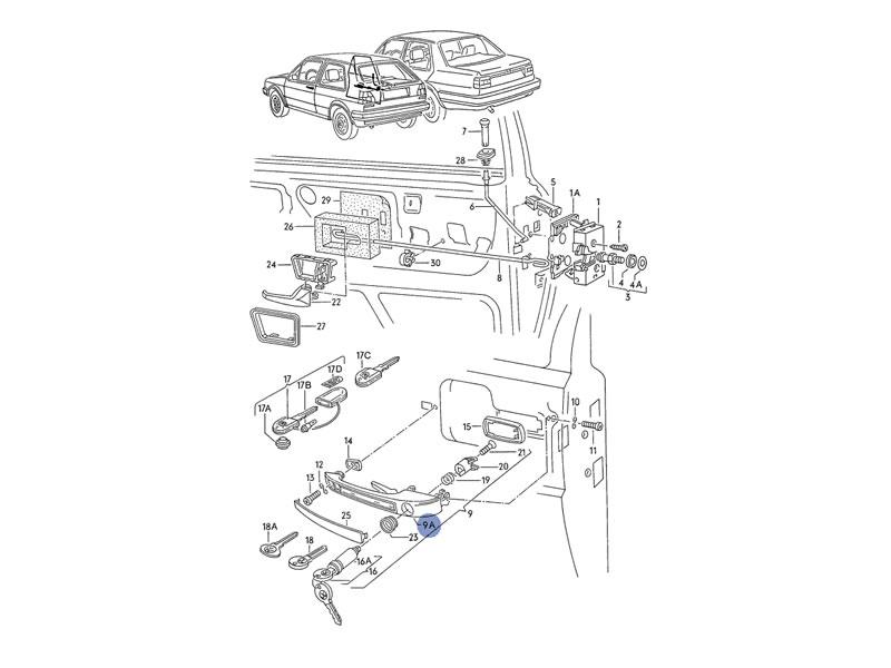 Original VW Classic Parts Door Handle Without Lock