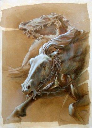 PRIX DE LA CREATIVITE : Offert par le GAB, Elizabeth CHAMPELOVIER pour les n° 53 et 54 « Chevaux de métal »