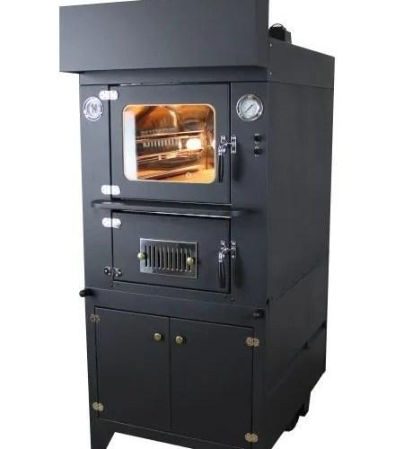 forno a legna indiretto da interno con capa di colore nero
